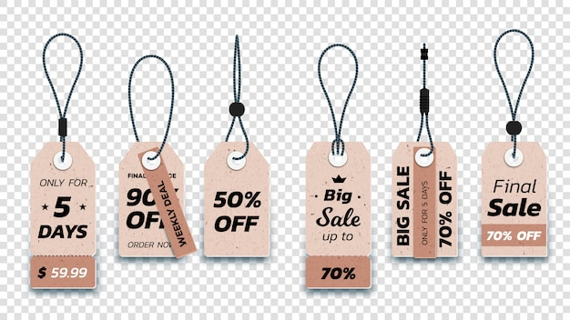 Realistic carton hanging sale tags. set of isolated paper sale labels.