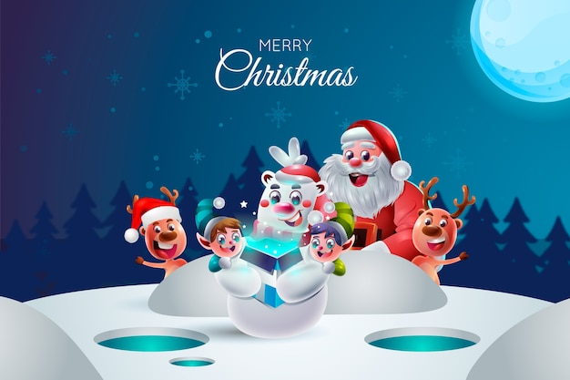 Realistic cartoon christmas characters Premium Vector
