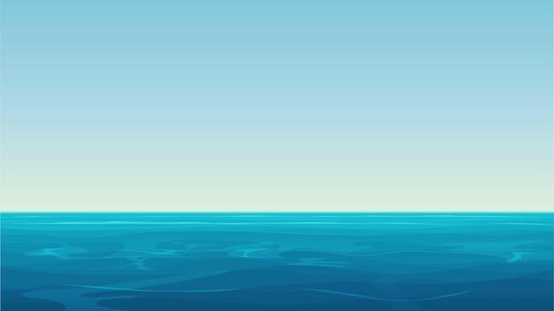 Realistic cartoon empty blue ocean sea and sky landscape