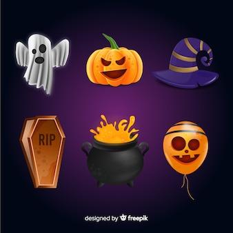 Реалистичный мультфильм коллекция элементов хэллоуина