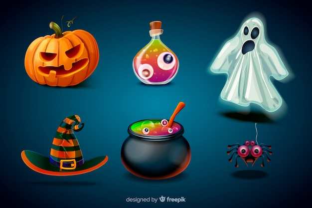 Realistic cartoon halloween element collection