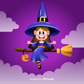 Realistic cartoon haloween witch