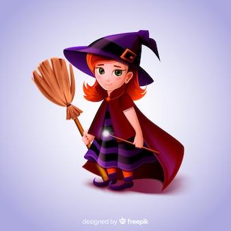 Realistic cartoon haloween witch