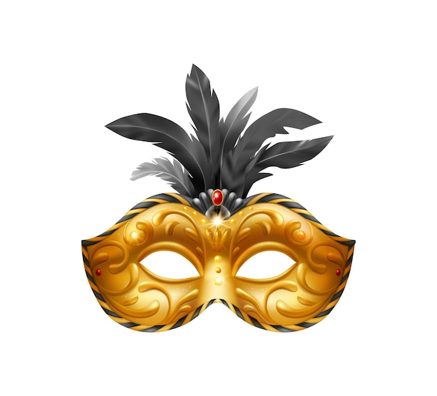 Realistic carvinal mask composition with isolated illustration of golden masquerade mask with black feathers