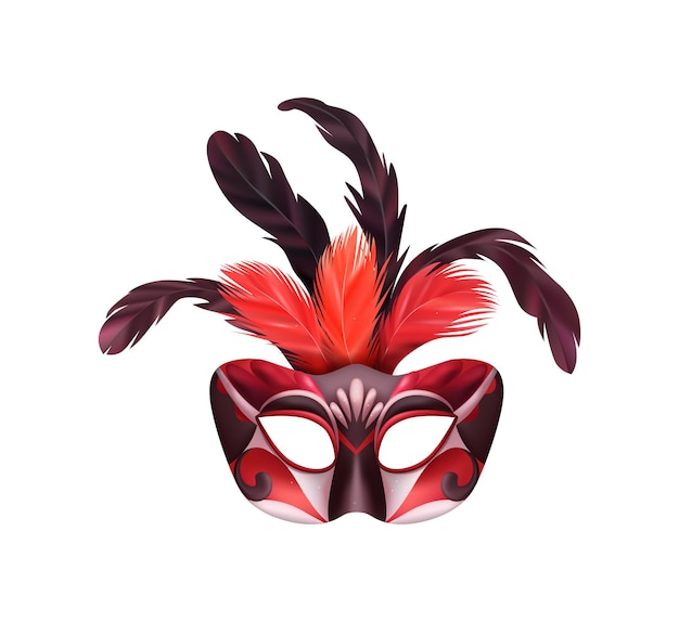 Realistic carvinal mask composition with isolated illustration of masquerade mask with black and red decorations