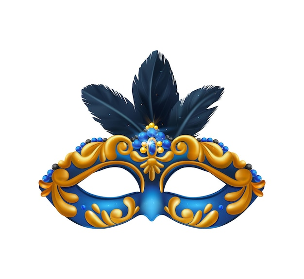 Realistic carvinal mask composition with isolated illustration of masquerade mask with blue and yellow pattern