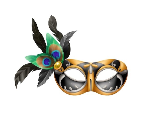 Realistic carvinal mask composition with isolated illustration of masquerade mask with peacock feathers