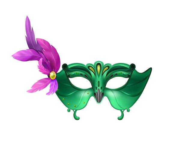 Realistic carvinal mask composition with isolated illustration of masquerade mask with purple feathers and green body