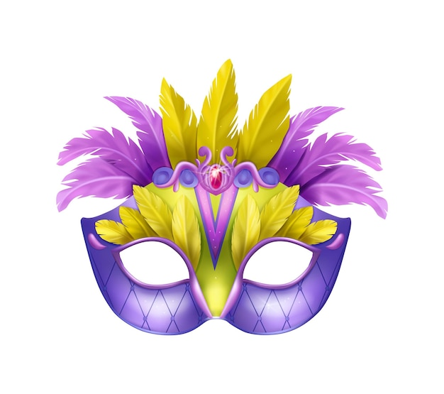 Realistic carvinal mask composition with isolated illustration of masquerade mask with purple and yellow feathers