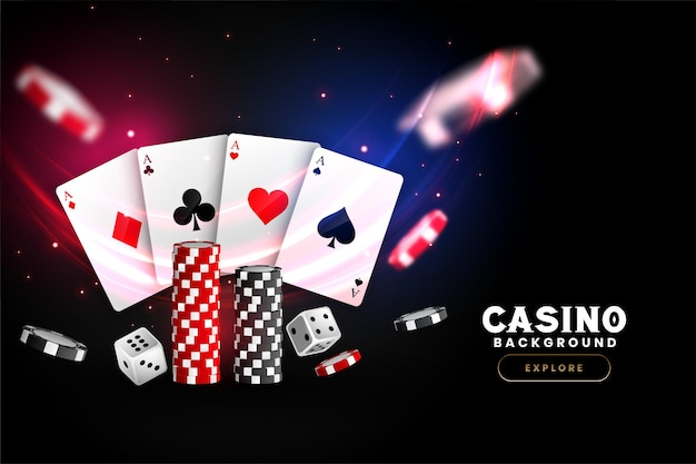 Realistic casino background with cards chips and dice