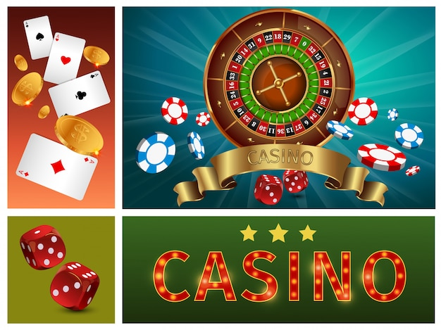 Realistic casino bright composition with gambling roulette poker chips cards gold coins and dices