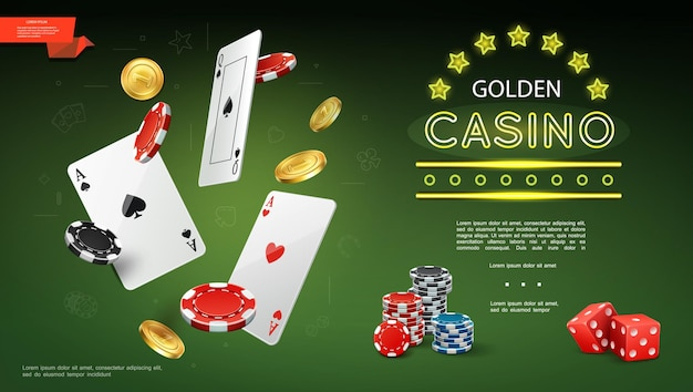 Realistic casino composition with flying playing cards poker chips gold coins and game red dices on green illustration