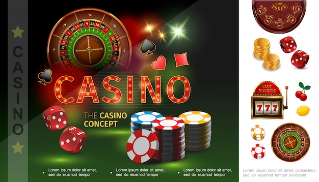Realistic casino composition with poker chips dices playing card suits roulette gold coins slot machine cherry lemon