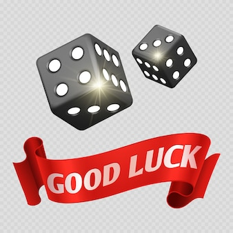 Realistic casino dice and red good luck