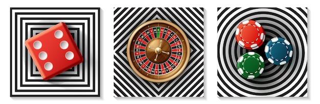 Реалистичная коллекция элементов казино с красными фишками на колесе рулетки с красными кубиками на квадратах, бриллиантами, круглыми иллюстрациями