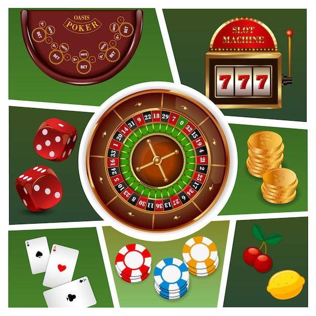 Realistic casino elements composition with roulette slot machine gold coins poker chips playing cards dices isolated