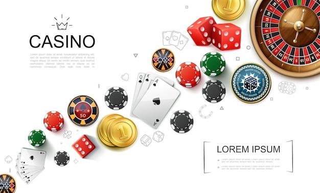 Реалистичная концепция элементов казино с игральными кубиками в рулетке, игральными картами и фишками для покера