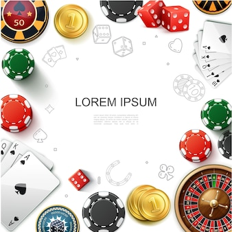 Realistic casino gambling template with roulette wheel playing cards game chips dices and gold coins illustration