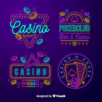 Realistic casino neon sign collection