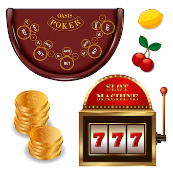 Realistic casino online games set with gold coins poker table slot machine cherry lemon isolated