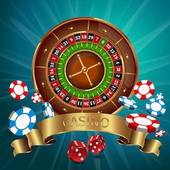 Realistic casino online games with golden ribbon and roulette on the top