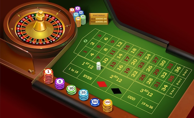 Realistic casino roulette on a green table and wheel