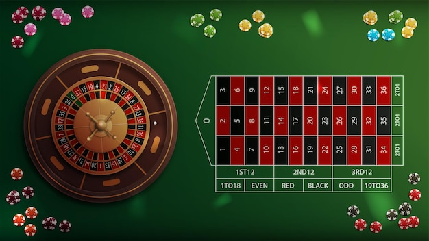 Реалистичная рулетка в казино с зеленым столом с покерными фишками, вид сверху