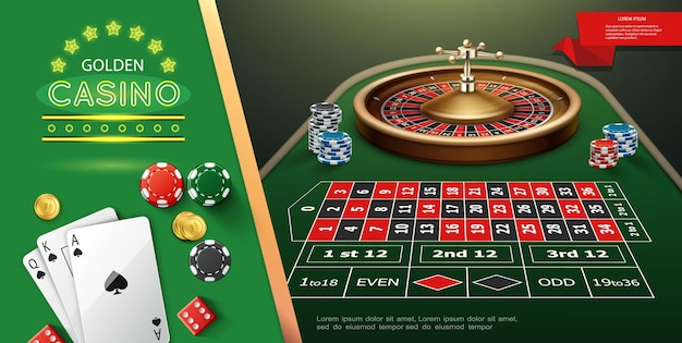 Realistic casino roulette template with wheel and game dices on table playing cards chips illustration