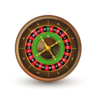 Realistic casino roulette wheel isolated on white.