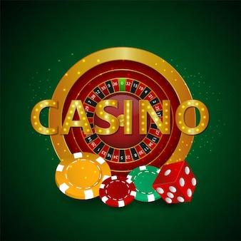カジノチップとホイールを備えたリアルなカジノルーレット