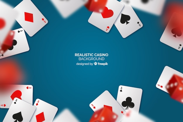 Realistic casino table background with cards