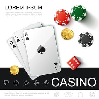 Реалистичная концепция вида сверху казино с покерными игральными картами, фишками, игральными кубиками и иллюстрацией золотых монет