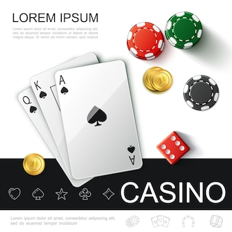 Realistic casino top view concept with poker playing cards chips game dices and gold coins illustration