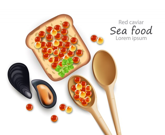 Realistic caviar toast and wooden spoons