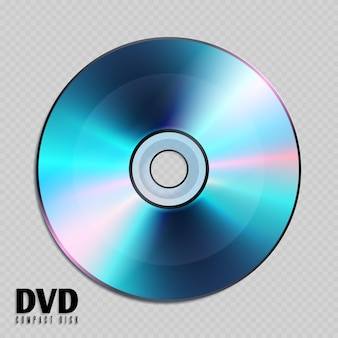 Realistic cd or dvd compact disk close up illustration.