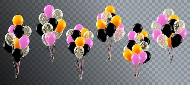 リアルなお祝い風船。ヘリウムの誕生日パーティーや結婚式の装飾、カラフルな風船の束、光沢のある風船イラストセット。現実的な束風船、結婚式の休日への贈り物