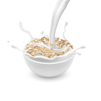 Realistic ceramic bowl with oat flakes or muesli, with white pouring milk and splashes isolate