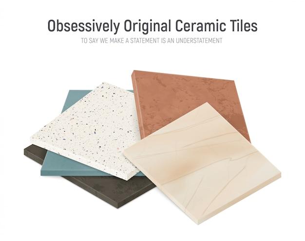 現実的なセラミック床タイルは、さまざまなテクスチャの正方形のタイルパターンの束と組成をサンプルします。
