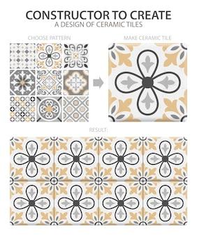하나의 유형 또는 다른 타일로 구성된 세트와 현실적인 세라믹 바닥 타일 빈티지 패턴