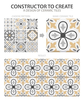 Realistic ceramic floor tiles vintage pattern with one type or set composed of different tiles