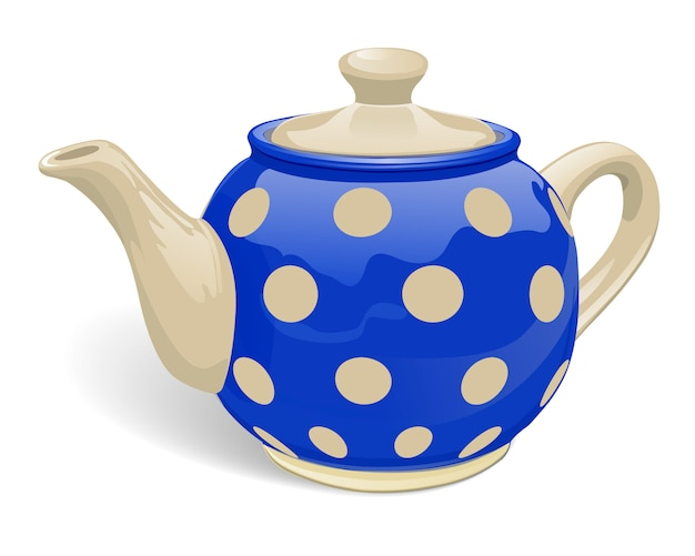 Realistic ceramic teapot. blue with beige peas.