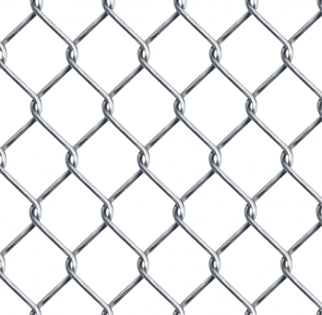 Realistic chain link , chain-link fencing texture isolated on transparency background, metal wire mesh fence design element vector illustration.