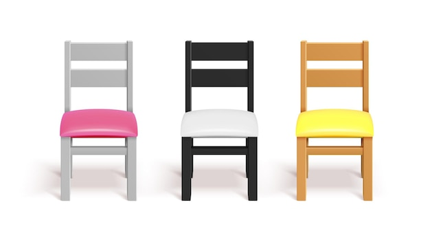 Realistic chairs. white, black and wooden chair with pillow