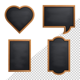 Realistic chalkboard with wooden frame isolated on transparent background