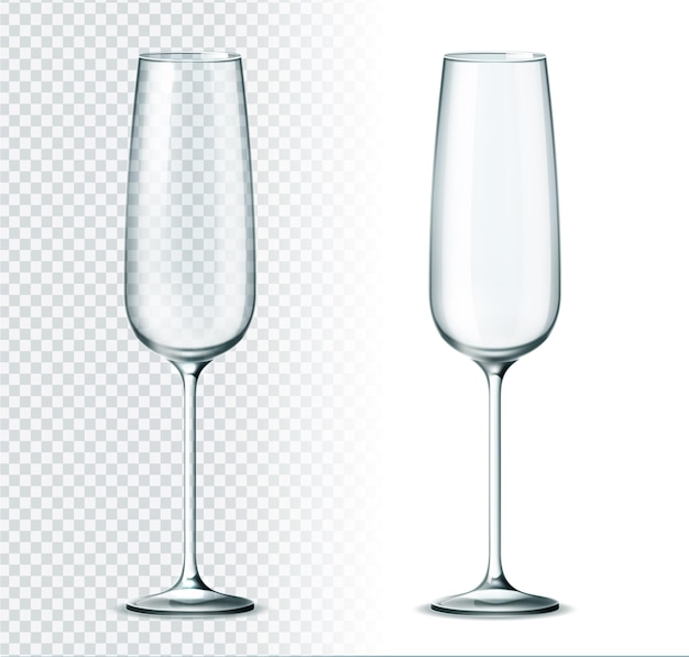 Realistic champagne glass on transparent background. shampagne flute glass. luxury restaurant glassware for alcohol drinks. empty classic glasses for holiday celebration