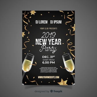 Realistic champagne new year party poster template