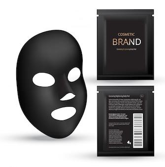 Realistic charcoal black mask. cosmetic plastic sachets.