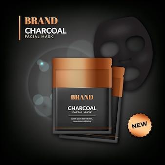 Realistic charcoal sheet mask ad