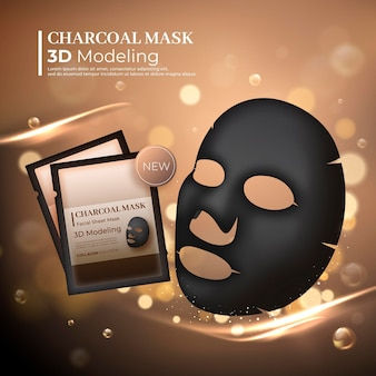 Realistic charcoal sheet mask ad