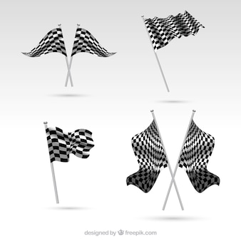 Realistic checkered flag collection